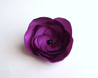 Plum Purple Silk Flower Embellishment