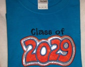 Keepsake CLASS of 2029 SAPPHIRE Blue and Orange Shirt ---  Do You need a different YEAR??  Have up to 64 color shirts to choose from