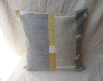 Modern 16 inch pillow cover, cushion cover, pillow sham, 16x16 throw pillow, yellow, grey, blue striped cover, pillowcase