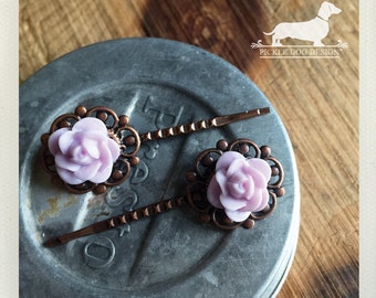 CLEARANCE! Lavender Rosebud. Flower Hairpins (Set of 2) -- (Purple, Brown, Cute Hair Clip, Bridesmaid Hair Accessory, Autumn, Vintage-Style)