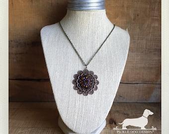 LAST ONE! Crown Jewels. Necklace -- (Vintage-Style, Autumn Fashion, Rhinesones, Victorian, Rustic Chic, Gemstones, Birthday Gift Under 10)
