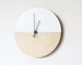 Large Wall Clocks, Clock Sale, Wood Wall Clock, Natural Wood and White,  Housewares, Home and Living, Unique Wall Clock