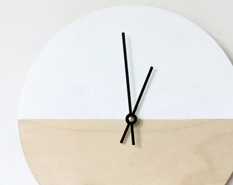 Wedding Gift, Wood Wall Clock, Trending Decor, Natural Wood and White,  Housewares, Home and Living, Unique Wall  Clock