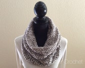 Clouds Grey Hooded Infinity Cowl Neck Warmer Circle Snood Scarf Soft Cluster Crochet