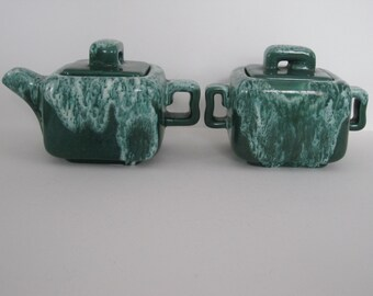 Vintage Drip Glaze Cream and Sugar Set