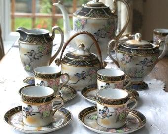 12 piece oriental vintage china demi tasse coffee set.