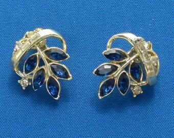 Earrings - Coro - Blue Rhinestones - Vintage