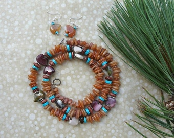 30 Inch Zuni Style Red Aventurine Bear Fetish Necklace with Earrings