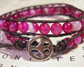 Wrap Bracelet, Beaded wrap bracelet, Beaded leather wrap, Double Wrap bead bracelet, Boho bead wrap, Agate - 744