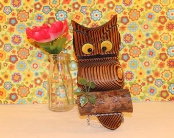 Retro wooden Owl