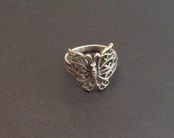 Butterfly Ring, Silver, Filigree, 1950s Vintage Jewelry SPRING SALE