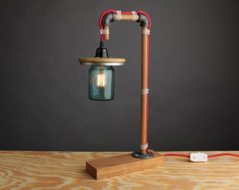 Oak and Iron Pipe Light, Plumbing Fittings, Blue Glass, Vintage Ball Jar, Up Cycled, Repurpose, Modern Home Decor, Table Lamp, Designer, Art