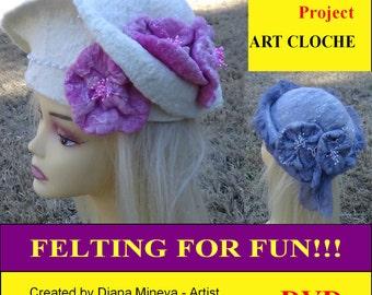 DIY, DVD, Art cloche, Felting projects, video tutorials, instructions, felted HAT, video demonstrations, felting supplies, workshop, gift