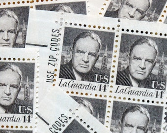 50 pieces - Vintage unused 1972 Fiorello H. LaGuardia 14 cent stamps - great for New York wedding invitations and save the dates - NYC