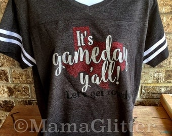 It's Gameday Y'all!  Let's get rowdy!- Football Tee, Texas T shirt- customize with color preference- A&M, UT, Baylor - lots of color choices