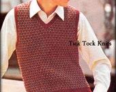 No.431 Teen Boy's & Men's Slip Stitch Vest PDF Vintage Knitting Pattern - Sweater Vest 1960's Retro Knitting Pattern - Instant Download