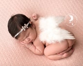 White Feathered Angel Wings - Couture Rhinestone Headband - Perfect Newborn or Maternity Photo Prop