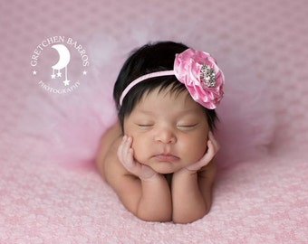 Pink Couture Tutu and Matching Couture Flower Headband (SET) - NEWBORN size - Beautiful Photo Prop or Keepsake Photo Prop