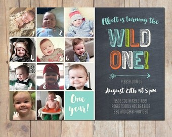 Wild One 1st First Birthday Invitation Printable or Printed Cards