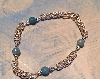Amazonite faceted Beaded Byzantine Sterling Bracelet