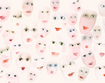 Fine Art Print from my Original Watercolor Painting Eyes and Mouths
