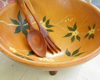 Painted Wood Salad Bowl Munising Fork Spoon Vintage 1960s