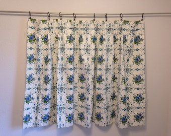 Vintage Short Curtain, Blue and White Floral Curtain, Flowers and Scroll Curtain, Kitchen Curtain, Bathroom Curtain