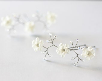 82_Ivory hair pin, Bridal hair pins, Flower accessories, Pins for hair, Crystal hair pins, Hair accessories pins, Hair pins wedding, Ivory