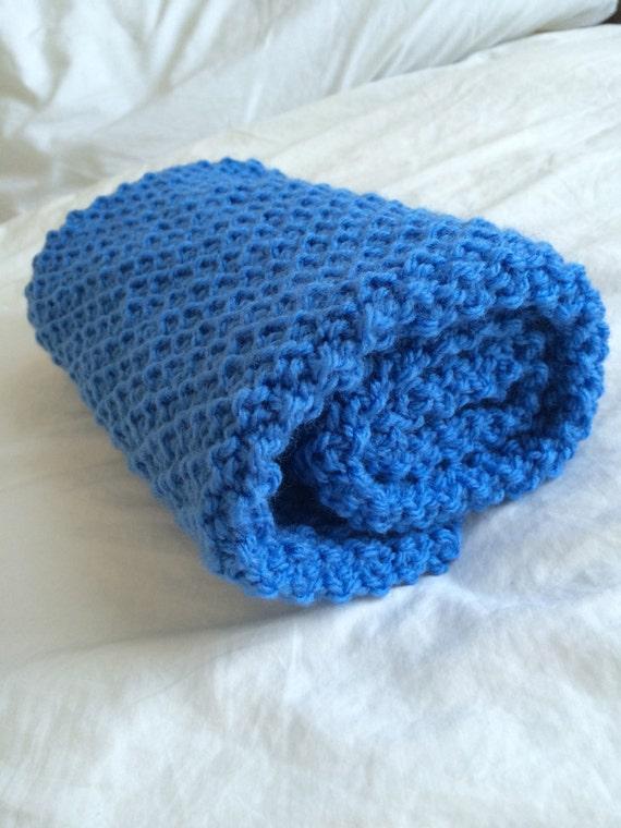 Waffle Knitting Pattern Blanket : Waffle Blanket Knitting Blanket Easy Baby Pram PDF