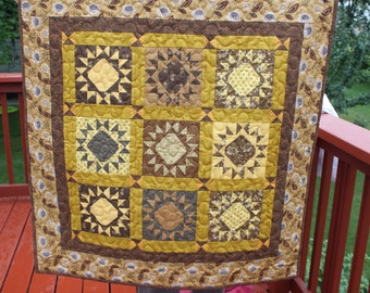 Wall Quilt - Gettysburg Star- Civil War Reproduction Fabrics -Browns and Golds Wallhanging