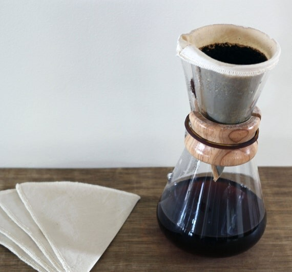 Chemex Coffee Maker Reusable Filter : 100% Organic Cotton Reusable Coffee Filters Chemex 3 Cup Style