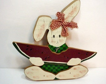 Wooden Bunny Shelf Sitter, Country Bunny With Watermelon, Country Kitchen Decor, Nursery Decor, Child's Room, Country Home Decor