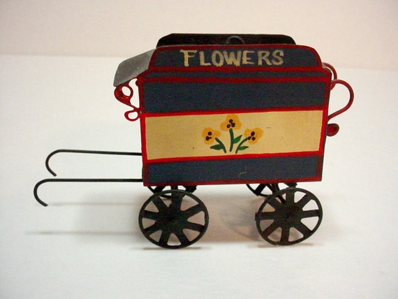 Miniature metal flower cart country home decor knick knack Home decor knick knacks