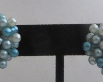 Vintage Clip On Turquoise Blue Beaded Earrings