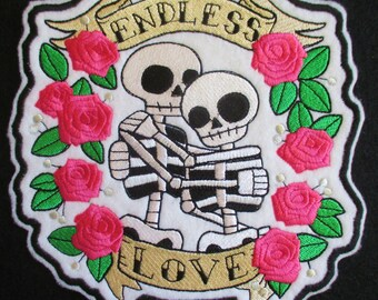 Embroidered Applique Patch, Day of the Dead, Dia de los Muertos, Sugar Skull, Endless Love, Biker Patch, Iron On  Sew On, 2 Skeletons, Roses