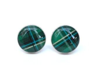 Green Plaid Earrings • Green Stud Earrings • Tiny Stud Earrings • Jewelry Gift For Her • Green Earrings • Gift For Mom