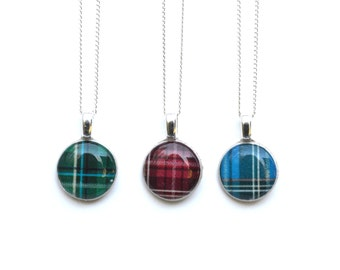 Tiny Plaid Pendant Necklace. Tiny Red Necklace. Blue Neklace. Green Necklace. Tiny Wood Necklace. Plaid Jewelry. Starlight Woods