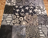 """14 x 14"""" cotton batiks pillow cover -  Blacks Greys and Whites Soothing Neutral Colors Nature Squares"""