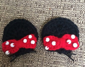 Adorable Minnie Mouse inspired set of 2 ear hair clips