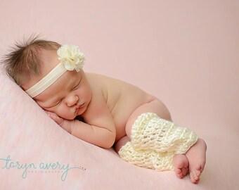 Cream newborn baby girl leg warmers