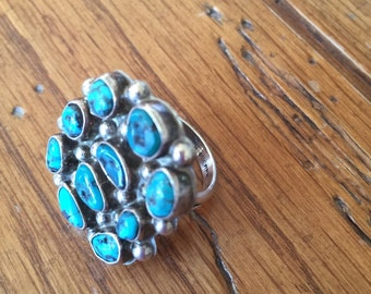 Turquoise Srerling Silver Native American Cluster Ring