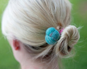 Handmade Felted Hair Buns