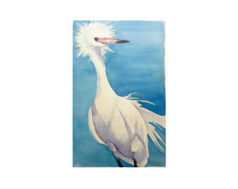 Watercolor Egret, Egret Print, White Egret Print, Bird Print
