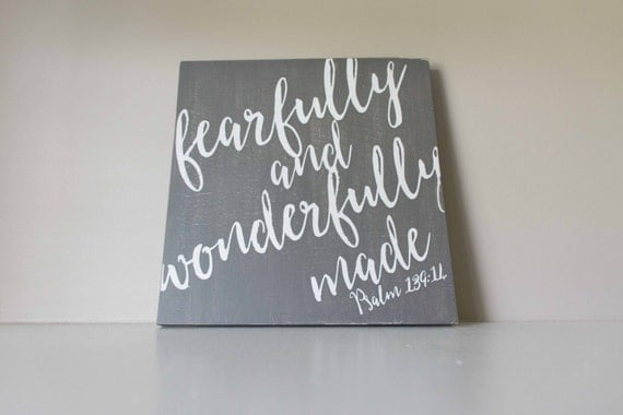 Fearfully and Wonderfully Made Wood Sign, Scripture Sign, Bible Verse Nursery Decor, Psalm 139:14