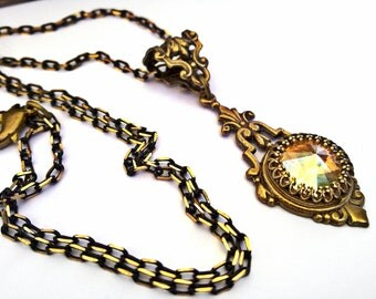 Antique Brass Necklace Swarovski Crystal Necklace Victorian Necklace Vintage Style Swarovski Jewelry