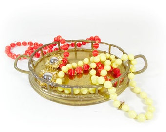 Vintage Brass Bamboo Tray / Small Vanity Tray / Decorative Serving Tray / Jewlery Display / Cosmetic Perfume Bottle Tray / Hollywood Regency