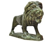 Hand-Carved Stone Lion Is Handsome and Benevolent, Vintage from Italy