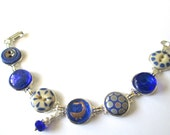DUCK antique button bracelet, blue glass DUCK button, 1800s buttons, silver links. One of a kind