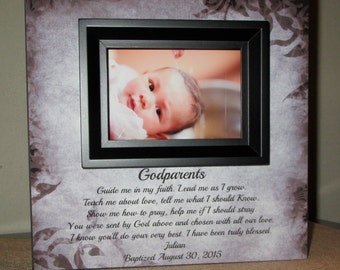 Personalized Godparent Gift Godparent Sign Gift for Godparents Personalized Baptism Christening Gift Godparent Poem