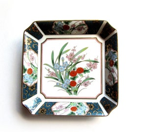 Otagiri Square Dish Peacock Blue Gold Blossoms and Trim Collectible Asian Porcelain (OMC)